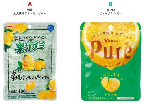 A:明治/大人果汁グミレモンピール、B:カンロ/ピュレグミ レモン