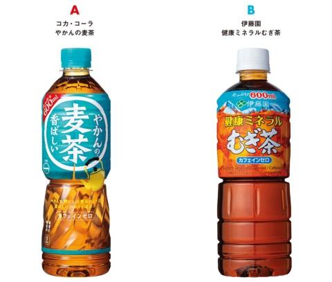 A:コカ・コーラ/やかんの麦茶、B:伊藤園/健康ミネラルむぎ茶