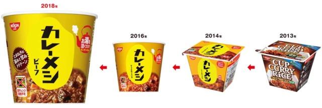 2013年に「日清カップカレーライス」の商品名で発売後(一番右)。14年に「日清カレーメシ」に名称を変更(右から2番目)。16年にパッケージを変えて、湯かけ調理に変更(右から3番目)。最新版では「たまねぎの旨みと甘みドドドーン」とキャッチコピーを書いた(一番左)