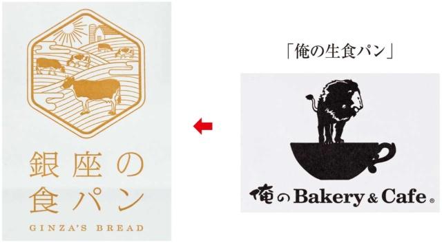(左)「銀座の食パン」のロゴマークは牛乳の入手先であり、牛を自然放牧で育てる岩手県のなかほら牧場をイメージしてデザインした。ゴールドの色使いは小麦をほうふつとさせ、牧場と小麦農家への感謝の念を込めたことがうかがえる。(右)「俺の生食パン」にはロゴマークはなく、店舗名が印刷された紙袋に入れられている(ロゴマークはいずれも紙袋を撮影したもの)