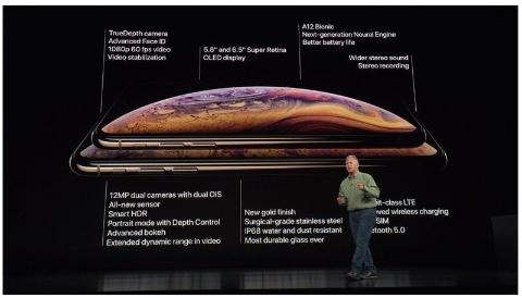 iPhone XSのプレゼンの様子。スペックをぎっしり並べた