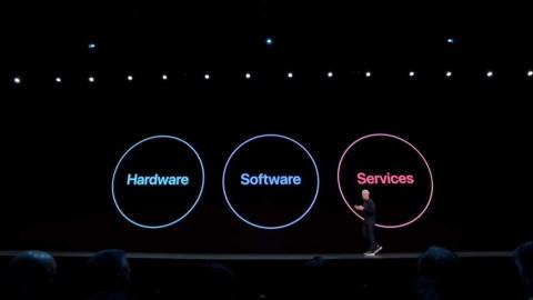 WWDCの冒頭、米アップルのティム・クックCEOはハード、ソフト、サービスの三位一体の事業展開を提示した(出所/YouTube内Appleのチャンネルの「WWDC 2019 Keynote」)
