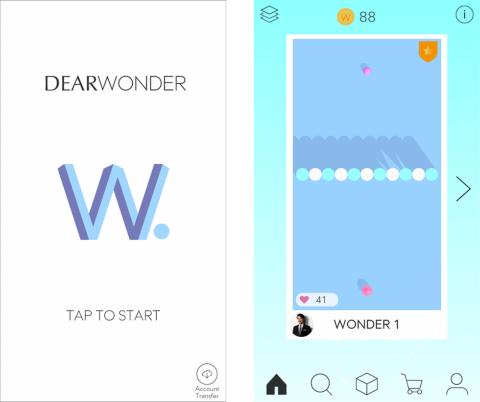 前刀氏が開発したアプリ「DEARWONDER」(iOS、Androidに対応)。画面上の玉を指でスライドして動かし、画面下の玉にくっつければステージクリア。影の形などをヒントに邪魔な物体の形や大きさを想像するのがポイントだ。自分でステージを創作、公開することもできる