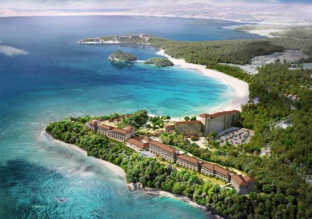 来年7月下旬に開業予定のラグジュアリーリゾートホテル「ハレクラニ沖縄」の完成予想イメージ
