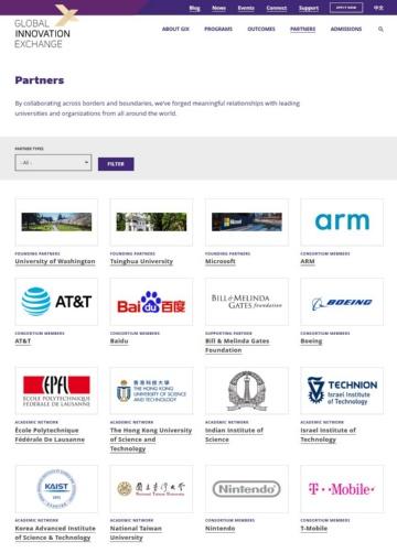 ワシントン大学のGIXのウェブサイト。世界の大学や企業と連携し、AI活用などの研究開発を進めている