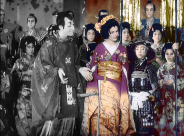 NHKスペシャル「戦後ゼロ年 東京ブラックホール」より。白黒映像(左)の一部をカラー化(右)したもの (c)NHK