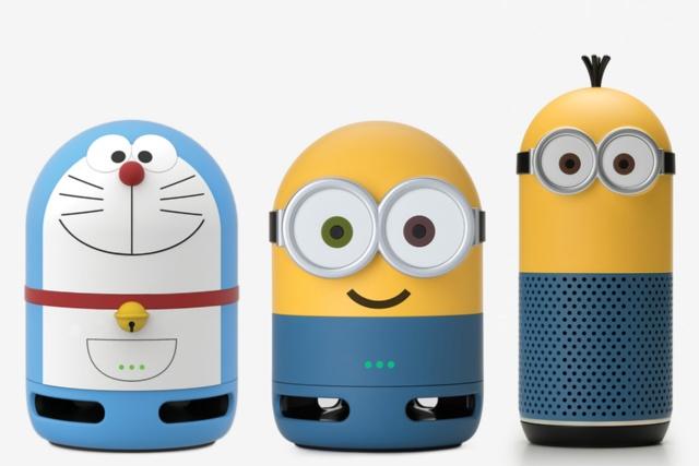 「Clova Friends mini(ドラえもん)」(C)Fujiko-Pro(左)、「Clova Friends mini(MINIONS Bob)」(中)と「Clova Friends(MINIONS Kevin)」(右)TM&(C)Universal Studios