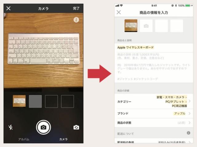 メルカリのアプリでは、商品を撮影するだけで商品名、カテゴリー名を自動入力して、出品のハードルを下げている