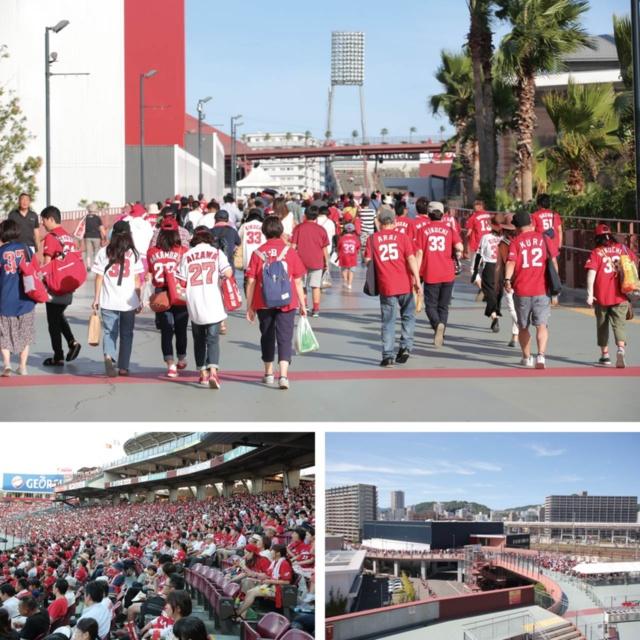 (上)広島駅から球場までは徒歩10分ほど。ユニホームを着て訪れるファンの多さに驚く。(下左)座席は傾斜がなだらかで、遠めの席でも臨場感が味わえる。(下右)平日ナイターでも、開場前に行列ができる
