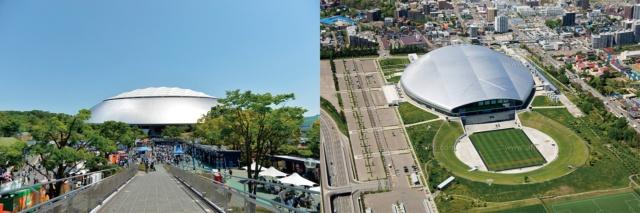 左が埼玉県所沢市のメットライフドーム、右が北海道札幌市の札幌ドーム