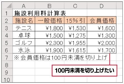 会員向けの割引価格の端数処理をする場合を考える。ここでは100円未満で切り上げることを想定