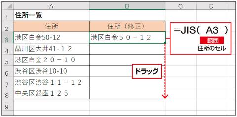 参照元のセルの値が最初からすべて全角の場合や、漢字やひらがななど全角しかない文字の場合は、何も変わらない。「範囲」に変換対象のセル(A3セル)を指定し、他のセルにコピーする