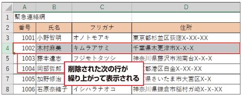 5行目の1003番だった木村さんが繰り上がって、1002番となる。番号が振り直され、常に連番で表示できるようになる
