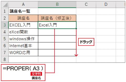 A3セルに「=PROPER(A3)」と入力し、下にドラッグしてほかのセルにコピーしよう