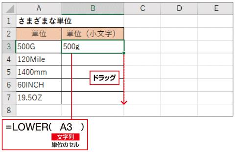 B3セルに「=LOWER(A3)」と入力し、ポッチを下にドラッグしてほかのセルにコピーしよう