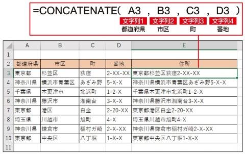 Excel 2013までならCONCAT関数の代わりにCONCATENATE関数を使う。こちらはセルをカンマで区切りながら1つずつ指定する