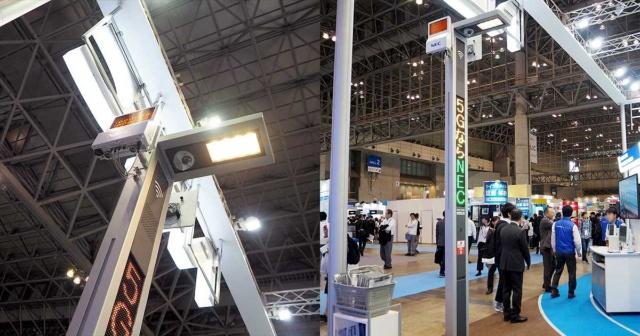 CEATEC JAPAN 2018の会場でNECが展示した街灯型の5Gアンテナ。自治体と連携して5Gを利用した地域サービスを提供するといった用途も想定する