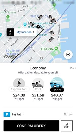 ライドシェアサービスはスマホアプリで乗車の依頼から決済まで完了できる(画面はウーバーのもの)