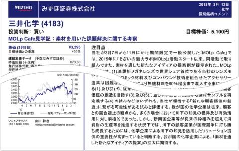 みずほ証券の山田幹也シニアアナリストが書いた三井化学のリポート。「MOLpCafe(モルカフェ)」を高く評価している