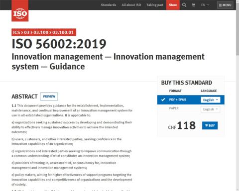 ISOのサイトから「ISO56002」の原文を購入できる