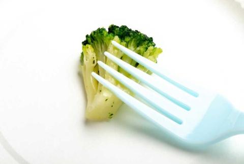 調理前の食材としてブロッコリーを例に示す。フォークでつぶそうとしても力がいる