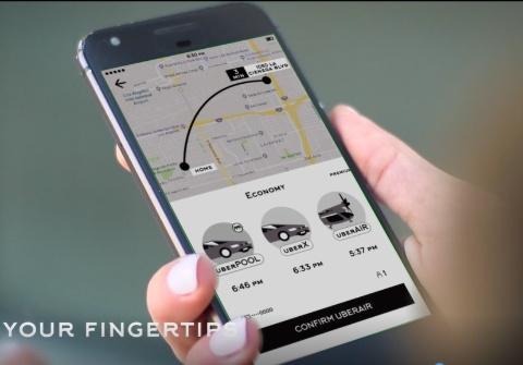 ウーバーが2023年の提供を計画している「Uber Air」のアプリ利用イメージ(出所:ウーバー)