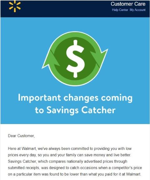ウォルマートは3月中旬に顧客に対し、「Savings Catcher」を中止する旨を説明するメールを送った