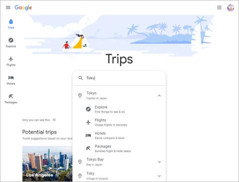 「Google Travel」の画面。航空券、宿泊などのサービスを統合した