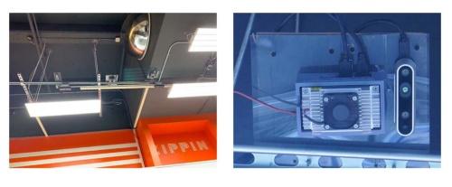 天井にあるカメラとエッジ処理用のサーバー。縦長の機器がカメラで、1台150~200ドル程度の市販品でいいという