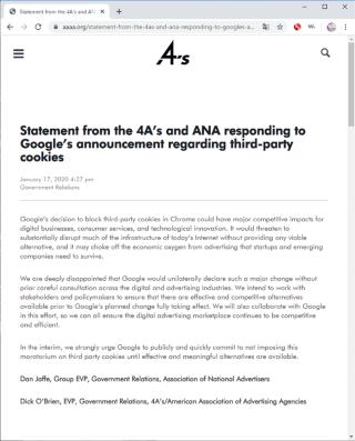 全米広告主協会(ANA)と、米国広告業協会(4A)の声明