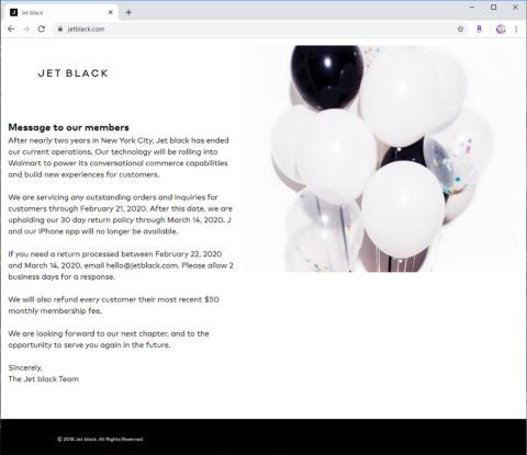 ジェットブラックのページに掲載されたメッセージ