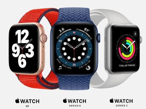 「Apple Watch Series 6」と廉価版の「Apple Watch SE」を発表。Series 3の販売を続けるので、Apple Watchは3種類のラインアップとなる(出所/発表会の動画をキャプチャーしたもの)