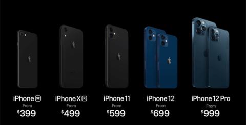 新しいiPhone 12のラインアップ。右の2グループが今回発表した12シリーズ。その他は従来機種の併売(出所/米アップルの発表会動画)