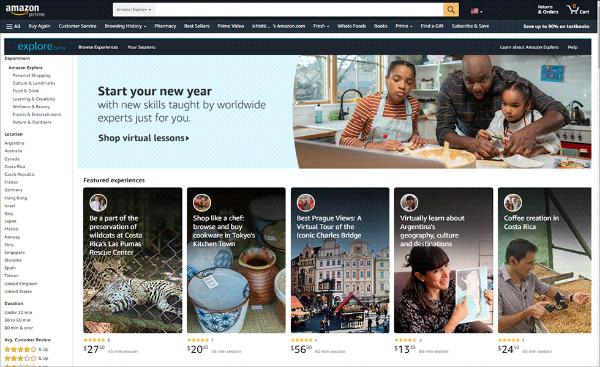 米国で提供している「Amazon Explore」のサービス画面(出所/米アマゾン・ドット・コム)
