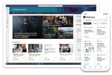 「Viva Connections」のサービス画面。人事ポリシーや福利厚生などの情報にアクセスする(出所/米マイクロソフト)