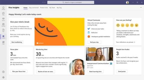 「Viva Insights」のサービス画面。チームや個人の働き方に対する洞察を得られる(出所/米マイクロソフト)