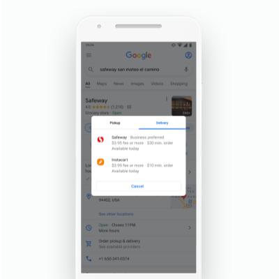 グーグルのウェブやマップの検索結果から、ピックアップやデリバリーの注文に直行できるようにする(出所/米グーグル)