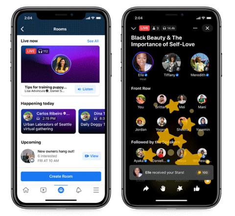フェイスブックの音声SNS「Live Audio Rooms」の登録画面(左)と配信画面