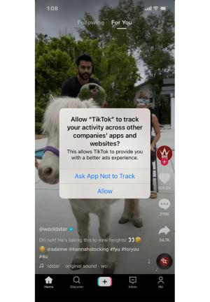 TikTokで表示されたIDFAによる追跡の承諾画面