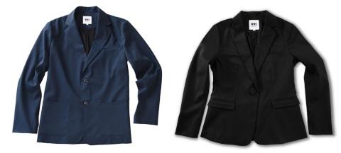 「WORK WEAR SUIT(ワークウェアスーツ)」にはネイビーとブラックがある。19年4月初旬より新色のダークネイビーとチャコールグレーも展開する。写真左は「テーラードジャケット」(裏地あり)で価格は1万8000円(税別)。別売りのパンツと組み合わせることが可能で、シャツもある。写真右は女性向けの「テーラードジャケット」で価格は2万1000円(税別)で、別売りのパンツもある。生地はポリエステル系