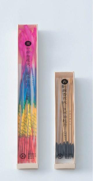主力製品「東西の線香花火」。作り方で関東と関西に違いがある線香花火の歴史を現代に生かした。左が「東の線香花火 長手牡丹」(600円)で、右が「西の線香花火 スボ手牡丹」(600円)。東のほうが燃焼時間が長い