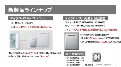 リンナイのマイクロバブル関連製品。給湯器に外付けするユニットタイプとマイクロバブルを発生する機能を備えた給湯器タイプがある