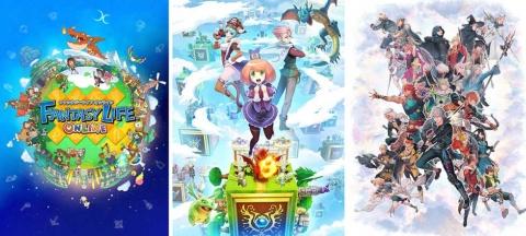 左から『ファンタジーライフ オンライン』(C)LEVEL-5 Inc.、『ドラゴン&コロニーズ』(C)LEVEL-5 Inc.、『天惺のイリュミナシア~オトメ勇者~』(C)倉花千夏 (C)LEVEL-5 Inc.