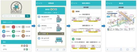 「ベビーメトロ」の画面の流れ。各駅の「エレベーターの有無」「ベンチの有無」「乗車位置」「駅構内図」がすぐに分かる。既存のバリアフリー情報を再構成した。開発やデザインはフェンリルが担当。エレベーターの情報を簡単に調べられるように、できる限り少ない操作で、結果の表示がシンプルになるようにした。当初のイメージカラーは女性を意識してピンクにしていたが、男性も使うためにエメラルドグリーンに変更した(https://www.babymetro.jp/)