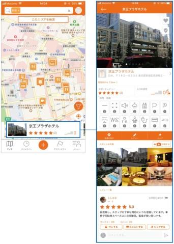 大阪市淀川区に本社を構えるミライロと、日本財団のCANPANセンターが共同運営するバリアフリー情報発信アプリ「Bmaps(ビーマップ)」。障害のある人や高齢者、ベビーカー利用者や外国人などのために、飲食店や宿泊施設などの情報を提供。通常の地図アプリとは違い、店舗・施設の特徴や設備、入り口の段差の数など、「利用のしやすさ」に焦点を当てている