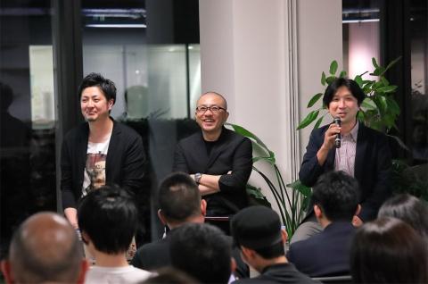 左から、CyberZ RAGE総合プロデューサー 大友真吾氏、プロゲーミングチーム「DeToNator」代表/Owner 江尻勝氏、サッポロビール マーケティング開発部コミュニケーションデザイングループシニアメディアプランニングマネージャー 福吉敬氏