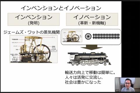 蒸気機関と鉄の車輪、レールを組み合わせることで蒸気機関車というイノベーションが起こった
