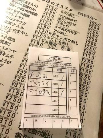 メニュー。右上に「2019/6/2~」とあるように、メニューが頻繁に更新されているのが分かる。注文点数が多くなるときは、注文票に記入する