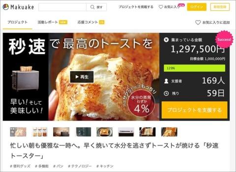 クラウドファンディングの「Makuake」で公開翌日には支援額が100%を突破