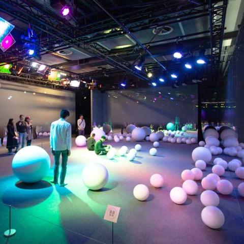 ゾーン3:床に転がる大小のボールは、人が座り込むと次第に近寄ってなつき始め、しばらくすると飽きたように離れていく